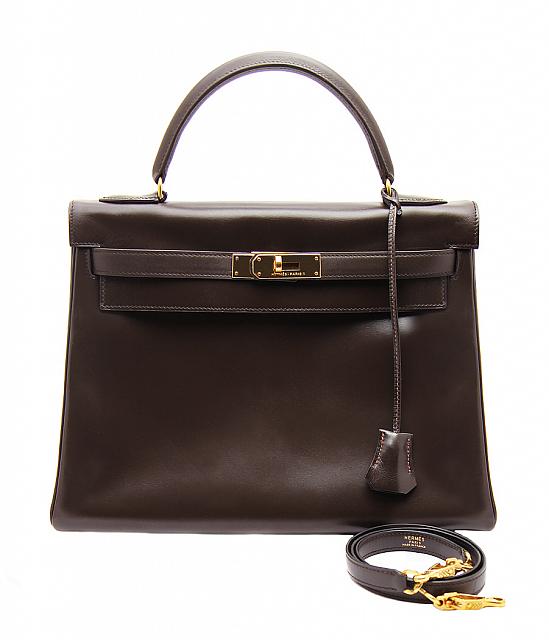 561a03a455fa Винтажная шоколадная сумка Hermes Kelly 32 в коже Box - магазин ...